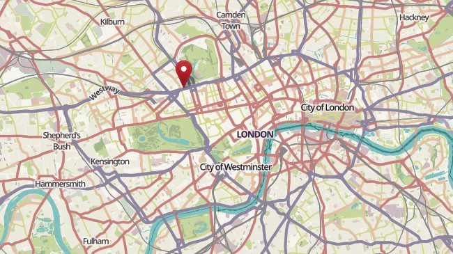 Map showing the location of the Landmark Hotel in London